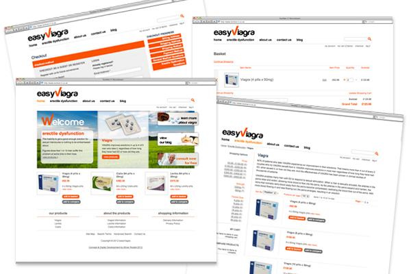 Design concepts/branding, Magento development for Easy Viagra