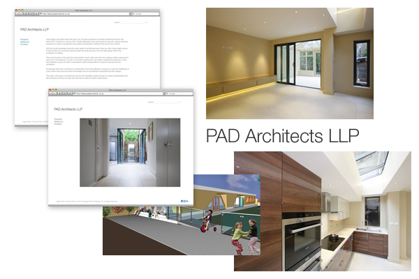 Design concepts/branding, Perch CMS development for PAD Architects London