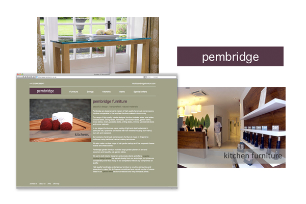 Design concepts/branding, front end development for Pembridge Furniture