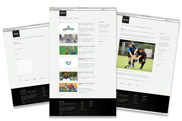 Design concepts/branding, Wordpress CMS development for Simian Hockey