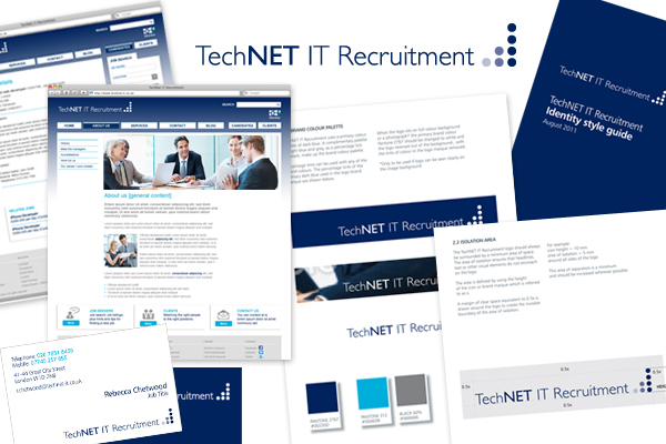 Design concepts/branding, Wordpress development for TechNET IT Recruitment