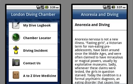 London Diving Chamber Android App Screenshots