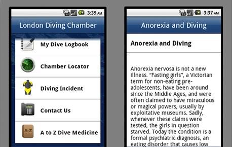 London Diving Chamber Android App Screenshots